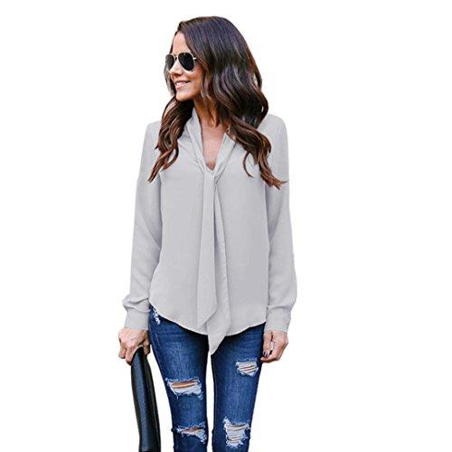 Necktie Floyd Pink (ARINLA 2018 Solid Long Sleeve V Neck Casual Necktie Chiffon Shirt top Blouse)