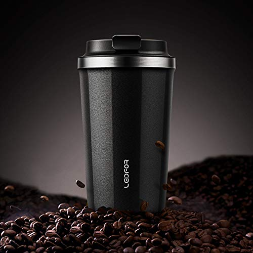 Leidfor Coffee Tumbler Travel Mug Thermal Cup Vacuum Insulated Stainless Steel Screw Lid Spill Proof 12 oz BLACK Matte Finish