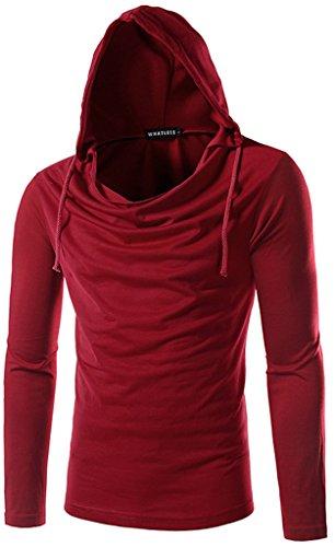 Whatlees Herren slim fit leicht Langarme Kapuzenpullover aus weicher Sweatstoff B093-Red-XL