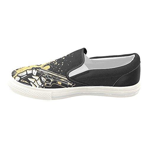 D-histoire Personnalisé Crâne Et Pistolet Femmes Chaussures De Toile Mode Chaussures Sneaker