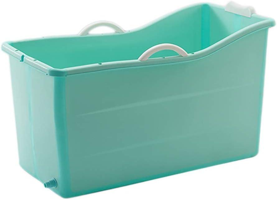 子供用折りたたみ式バスバレル、大人用浴槽、蓋付き家庭用ポータブル小型浴槽、排水穴デザイン、男女兼用、2色、100x53x60cm(色:青、サイズ:A)