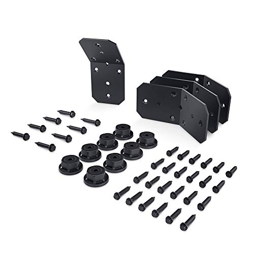 OZCO 51768 Ironwood 4-inch Flush Inside 45-degree Angle Bracket, (4 per Pack), Black