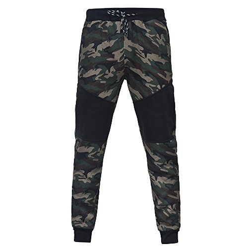 (Men Pants Daoroka Men's Casual Camouflage Long Patchwork Jogger Gym Athletic Running Sports Trousers Sweatpants (M, Camouflage))