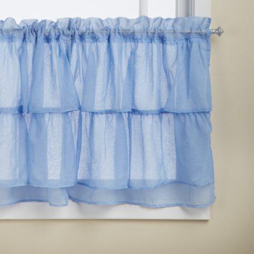 Lorraine Home Fashions Gypsy Shabby Chic Layered Ruffle Window Tier  60 By 24 Inch  Blue