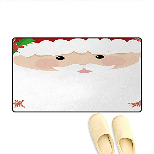 Doormat,Cartoon Face of Santa with Pink Cheeks White Beard and Mistletoe on His Hat,Floor Mat Bath Mat for Tub,Multicolor,Size:20x32