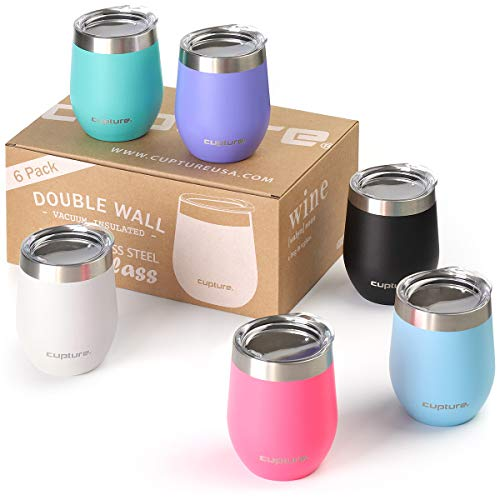 Cupture Stemless Wine Glasses 12 oz Vacuum Insulated Tumbler with Lids - 18/8 Stainless Steel (Assorted Colors)