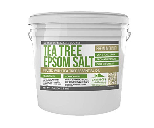 Tea Tree Epsom Salt (1 Gallon Bucket, 8 lb) by Earthborn Elements, Infused with Tea Tree Essential Oil, Skin Soothing, Foot Soak, Stress Relief, Aromatherapy