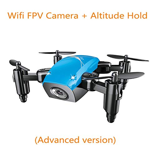 S9HW Mini Drone with Camera HD S9 No Camera Foldable RC Quadcopter Altitude Hold Helicopter WiFi FPV Micro Pocket Dron,Blue with Camera