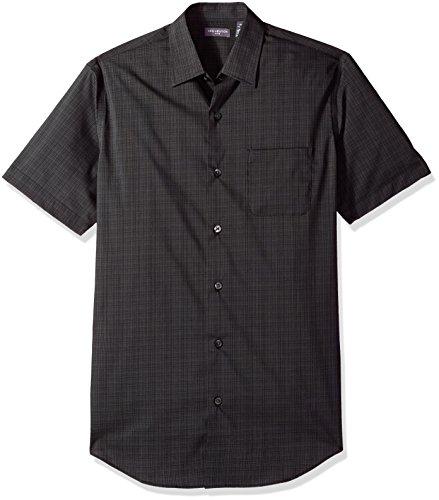 (Van Heusen Men's Flex Stretch Short Sleeve Non Iron Shirt, Windowpane New Black, Medium)