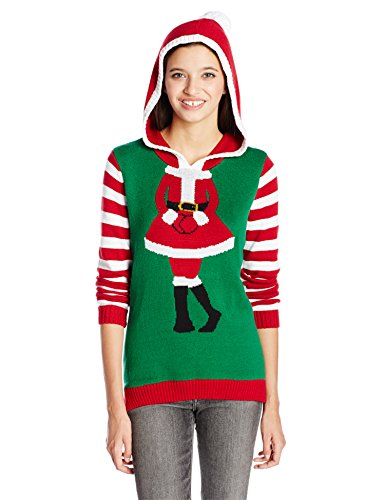 Ugly Christmas Sweater Company Junior's Mrs. Claus Pullover Hoodie, Emerald, S