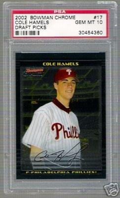 Cole Hamels Rookie Card PSA 10 2002 Bowman Chrome #17