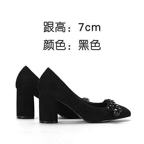 FLYRCX Zapatos de Tacón negro mujeres solo zapatos de cuero de estilo europeo de mujeres suede zapatos de trabajo Black