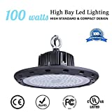 MKLOT UFO High Bay Led Lights 11.34'' Wide 100W Warehouse Light Industrial Grade Area Workshop Hanging LED Lighting 6000K Daylight White Fixtures for Garage Commercial Shopping Mall Subway Stations