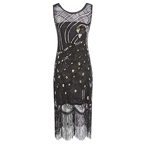 BODOAO Women's Dress Sequined Cocktail Dress 1920s Sequins Beads Long Tassel Vintage Dress Black (Peter Pan Collar Sequined)