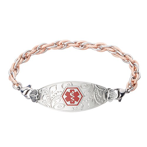 - Divoti Custom Engraved Medical Alert Bracelets for Women, Stainless Steel Medical Bracelet, Medical ID Bracelet w/Free Engraving - Lovely Filigree Tag w/Inter-Mesh Rose Gold/Silver-Red-8.5