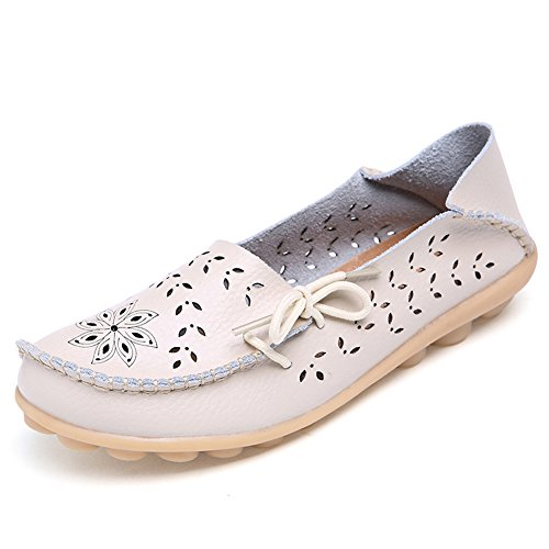 Lucksender Womens Hollow Out Carving Casual Leather Driving Flat Loafers Shoes 9B(M) US Beige