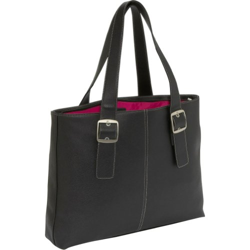 Solo Classic Collection Laptop Tote with Padded Laptop Pocket, for Notebook Computers up to 16 Inches, Black with Magenta Interior (K708-4/12), Bags Central