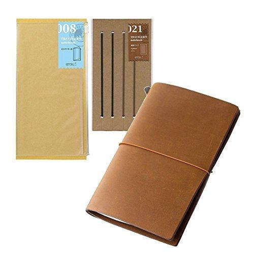 Midori Traveler's Notebook Leather Bundle Set , Regular Size Camel , Refill Connection Rubber Band 021 , Clear Zipper Case 008 ()