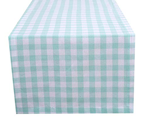 Ramanta Home Cotton Gingham Check Plaid Table Runner for Family Dinners or Gatherings, Indoor or Outdoor Parties, Everyday Use, Wedding Table Runner-(16x108, Seats 8-10 People), Aqua White, 2Pack ()
