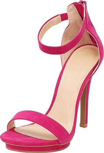 Cambridge Select Women's Open Toe Single Band Stretch Elastic Ankle Strap Stiletto High Heel Sandal (7.5 B(M) US, Magenta IMSU)