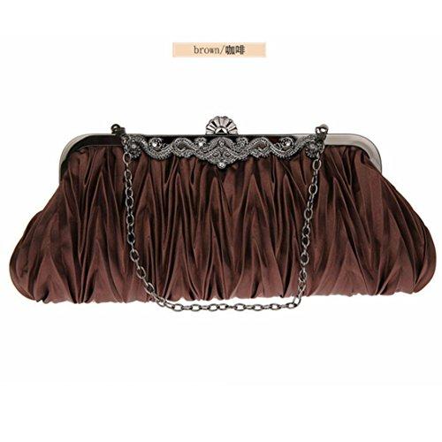 Handbags Purse Bag Clutches Women Cocktail Silk Silk Cocktail Brown Women Evening 0nfqBaPzw