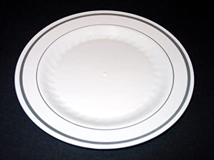 Masterpiece Plastic 6-inch Plates White w/Silver Rim 15 Count & Amazon.com: Masterpiece Plastic 6-inch Plates White w/Silver Rim 15 ...