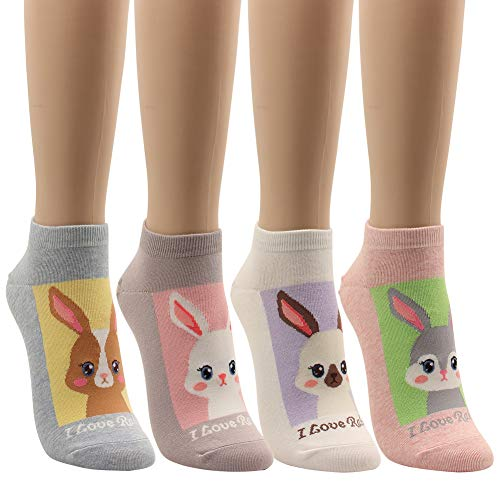 (Low Cut Socks Cat Dog Piggy Cute Funny Animal Design Women Teen Girl 5pairs (4pair-rabbit))