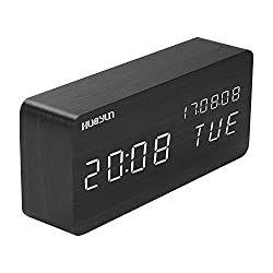 Alarm Clock,LED Digital Clock,Made of Environmentally Friendly Wood,3 Levels Brightness, 3 Groups of Alarm Time,Displaying Time Date, Termperature and Acoustic Control