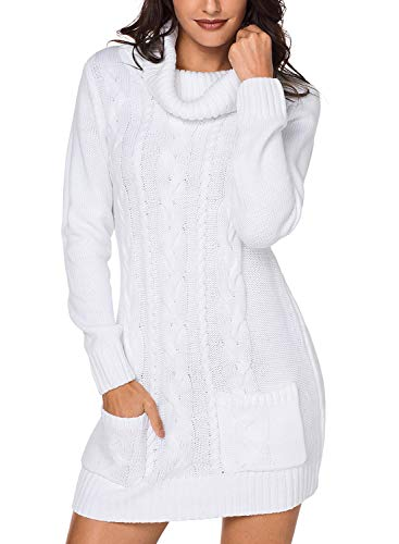ater Dress for Women 2018 Winter Casual Slim Fit Chunky Cowl Neck Pullover Cable Knit Sweater Mini Bodycon Dress White Large ()