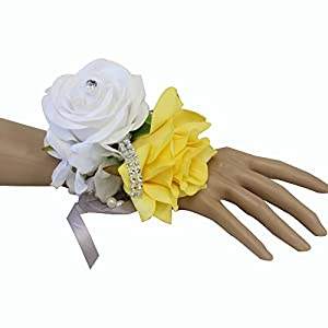 Angel Isabella Wrist Corsage-Beautiful Handmade Wrist Corsage Keepsake Artificial Roses 40+Colors 4