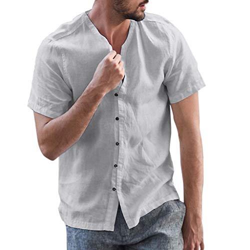 Zackate Men's Cotton Linen Baggy Shirts Solid Color Short Sleeve Button Retro T Shirts Tops Blouse Deep ()