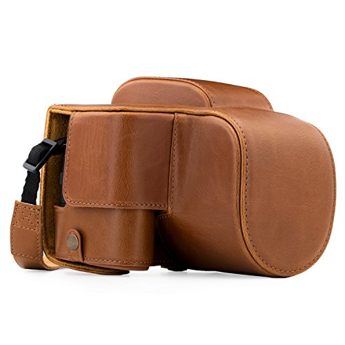 MegaGear Panasonic Lumix DC-FZ80, FZ82 Ever Ready Leather Camera Case and Strap, with Battery Access - Light Brown - ()
