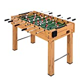 Goplus 48' Foosball Table, Easy-Assemble Soccer Game Table w/Cup Holder, 2 Balls, Competition Sized Foosball Games for Indoor Game Rooms, Bars, Parties, Family Night (Burlywood)