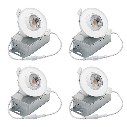 NICKLED (4 Pack) 8W 3 inches led Gimbal can Lights-Directional Adjustable Dimmable LED Retrofit Recessed Lighting Fixture(65W Replacement) 5000K-Day Light, 800Lm -ETL Energy Star Approved