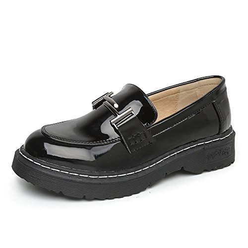 Meeshine Women's Platform Penny Loafers Comfort Slip On Dress Shoes