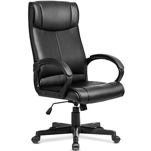 Modern Luxe High Back Executive Chair Ergonomic PU Leather Office Chair (Black PU) by Merax