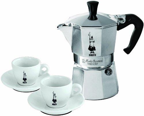 Cheap Bialetti Moka – Stove Top Espresso Maker Set – Includes 2 Espresso Cups & Saucers – Aluminium with Black Handle – 3 Cup