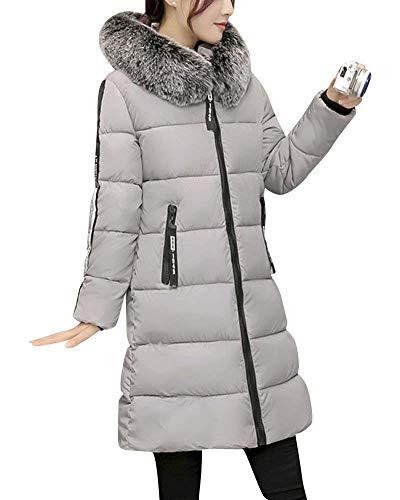 Abrigos Mujer Cálido Largos Elegantes Espesar Ropa Caliente Abrigo Acolchado con Capucha De Piel Moda Casuales Outdoor Día Manga Larga Chaqueta Acolchada Abrigos Outerwear Grau