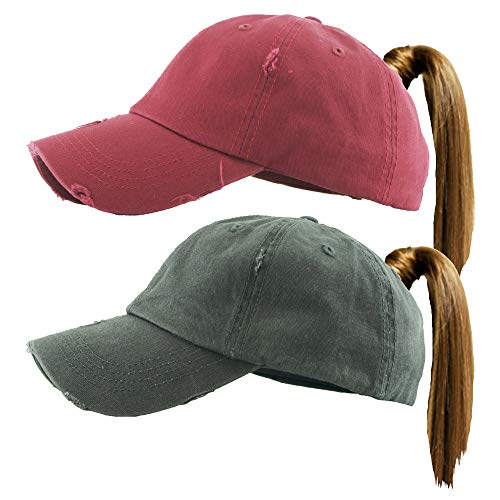 - H-216-2-S6470 Distressed Ponycap 2-Pack: Solid Burgundy & Charcoal