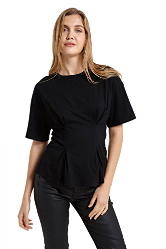 Women's Cotton Short Sleeve Cinched Waist Band Tee Tshirt Top Black (Cinched Waist Top)
