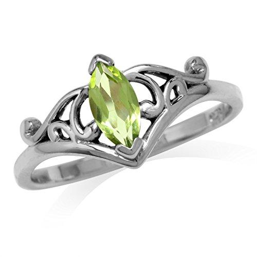 Silvershake Natural Marquise Shape Arizona Peridot 925 Sterling Silver Filigree Ring Size 8