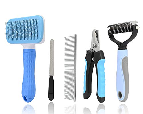 5Pack Pet Grooming Tool Set, Including 1Pc Self Cleaning Slicker Brush, 2Pcs Dog Cat Pets Nail Clippers & Trimmers Kit…