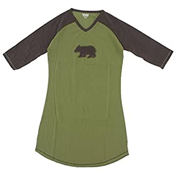 Lazy One Brown Bear Cotton Nightshirt for Women S/M
