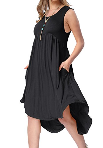 Womens Simple O Neck Pleated Loose Causal Midi Dress with Pockets Black -