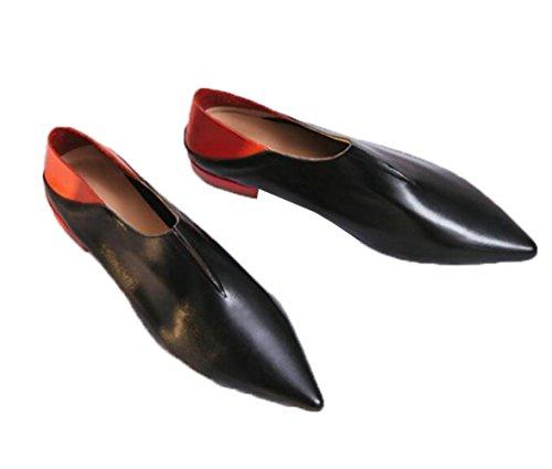MUYII Zapatos Planos De Cuero Para Mujer Zapatos De Maternidad A Juego Con Color A Juego Black