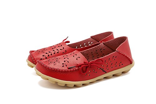 Loafers Group Flat Slip Leather 2red Women's Casual RT Slippers on Wild Shoes Breathable nbsp;Moccasins Indoor ztqdxpn