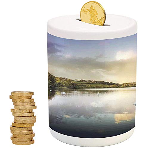 iPrint Cottage Decor,Money Bank for Kids,Traditional Piggy Bank,Swans Resting on a Lake Covered by Forest in The Scottish Highlands