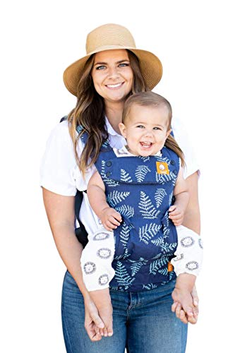 Great Deal! Baby Tula Explore Baby Carrier, Adjustable Newborn to Toddler Carrier, Ergonomic and Multiple Positions for 7 – 45 pounds – Everblue (Blue with Teal Blue Fern Leaves)