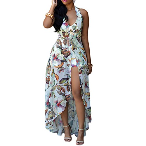 Womens Halter Floral Chiffon Maxi Dress Overlay Rompers Jumpsuit Playsuit (S, White) (Plus Size Rompers)