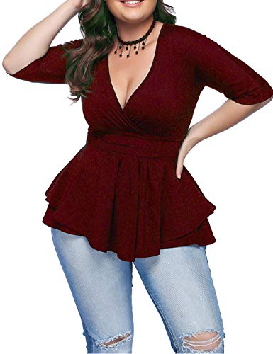 (Women's Summer Plus Size Blouse Sexy Deep V Neck Pleated Half Sleeve Ruched Promenade Tops (Wine, 6XL))